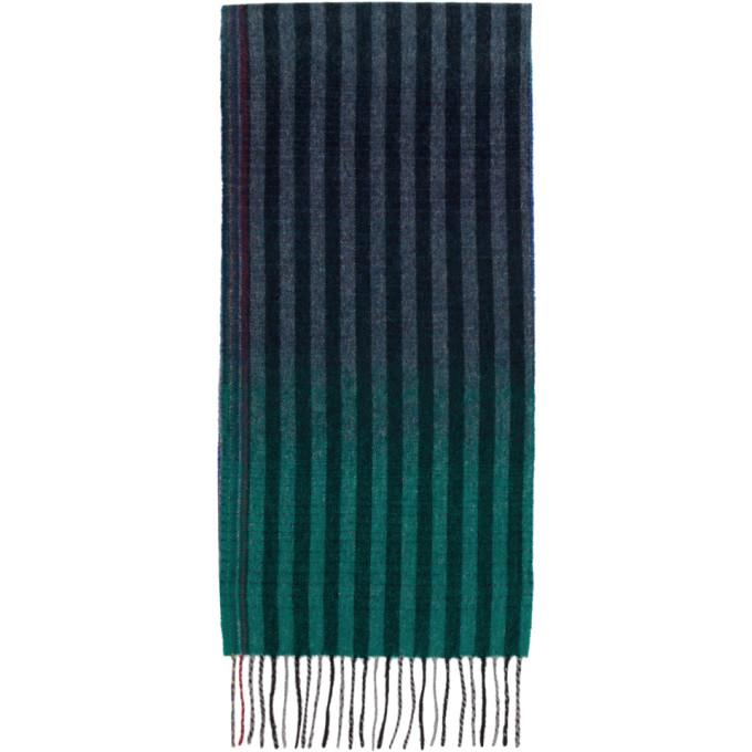 Paul Smith Foulard en laine bleu marine et multicolore Sunset Stripes