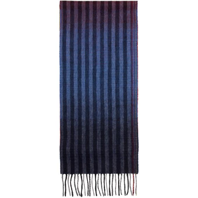 Paul Smith Foulard en laine multicolore Sunset Stripes