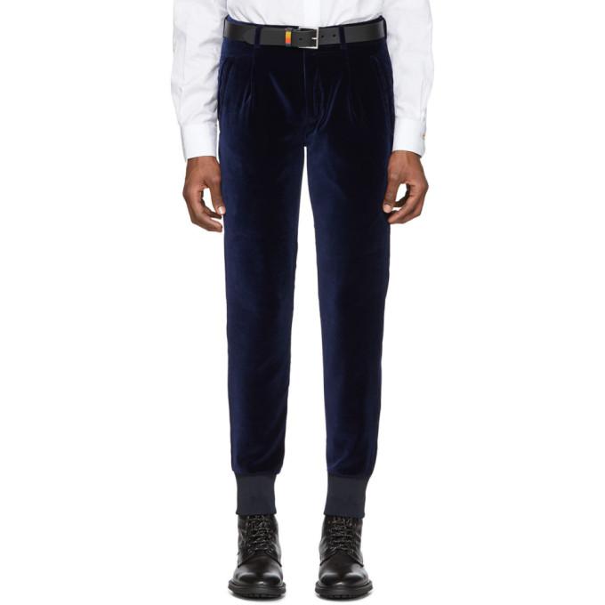 Paul Smith Pantalon en velours bleu marine Jogger