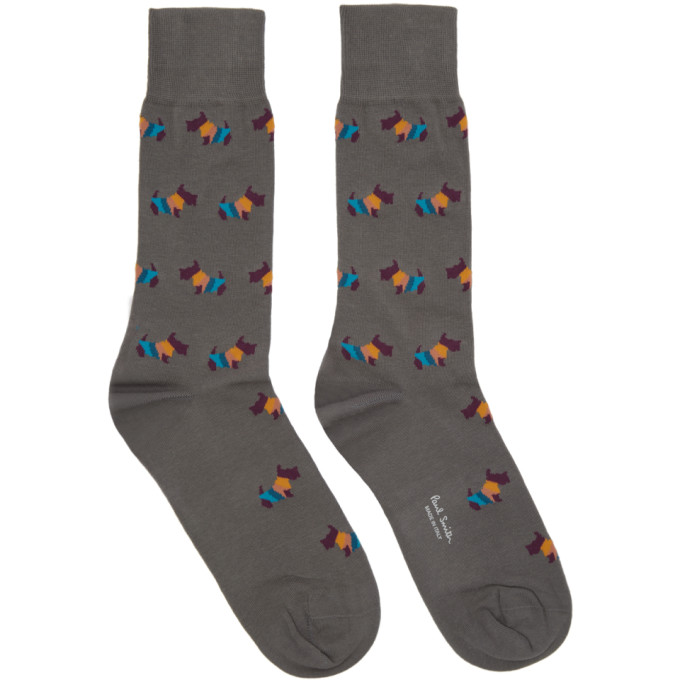 Paul Smith Grey Artist Dog Socks