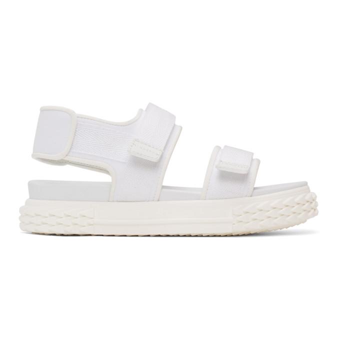 Buy Giuseppe Zanotti White Carlito Flat Sandals online