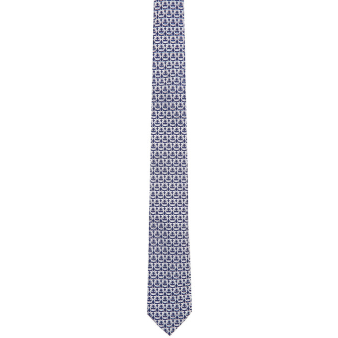Salvatore Ferragamo Cravate bleu marine et blanche Gancini