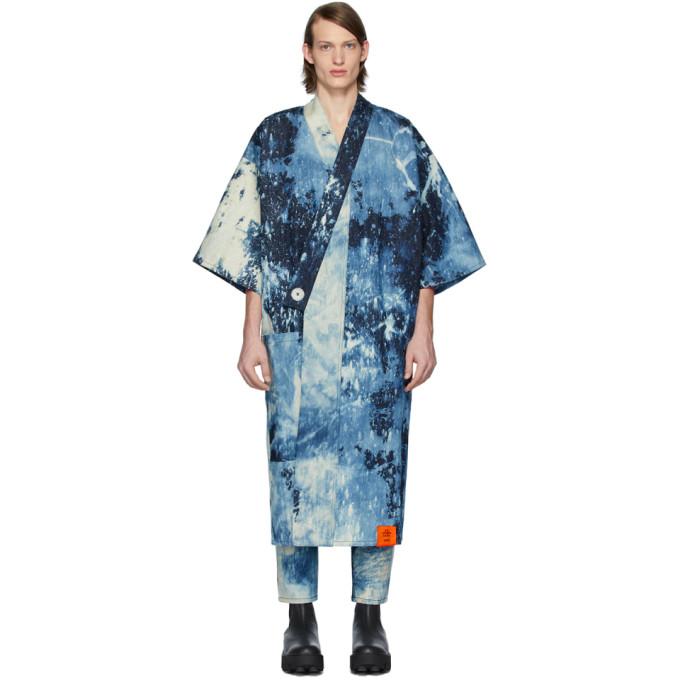 S.R. STUDIO. LA. CA. Kimono long en denim indigo Hand-Bleached SOTO