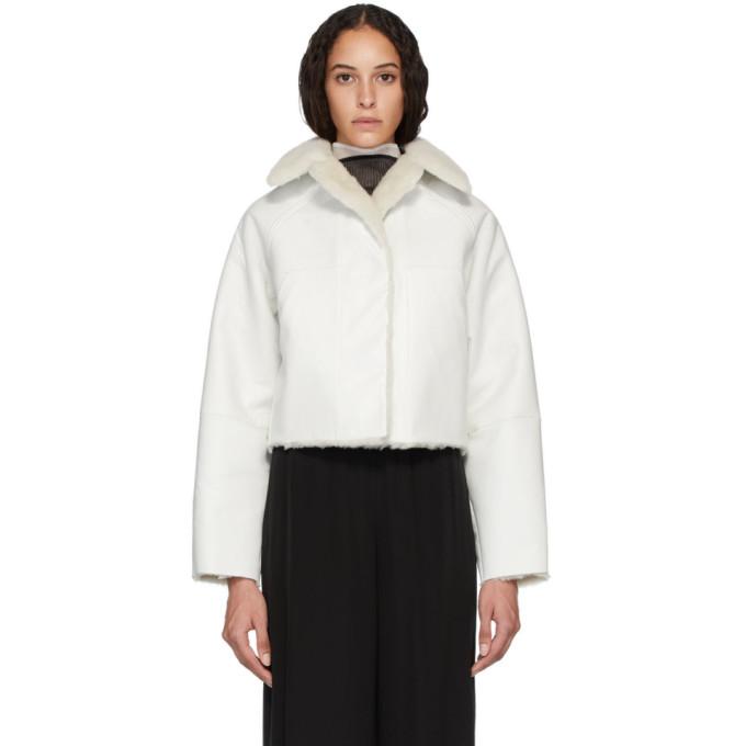 Kassl Editions Manteau reversible en cuir de mouton blanc
