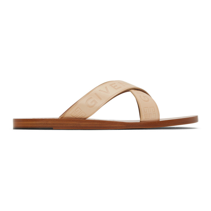 Givenchy Crisscross Logo Leather Sandals In 295 Natural