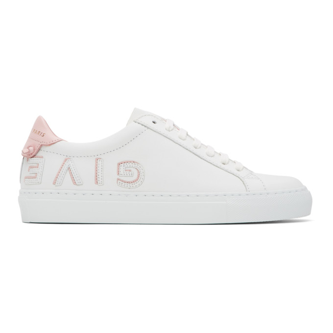 Givenchy White & Pink Urban Street Reverse Logo Sneakers In 白色