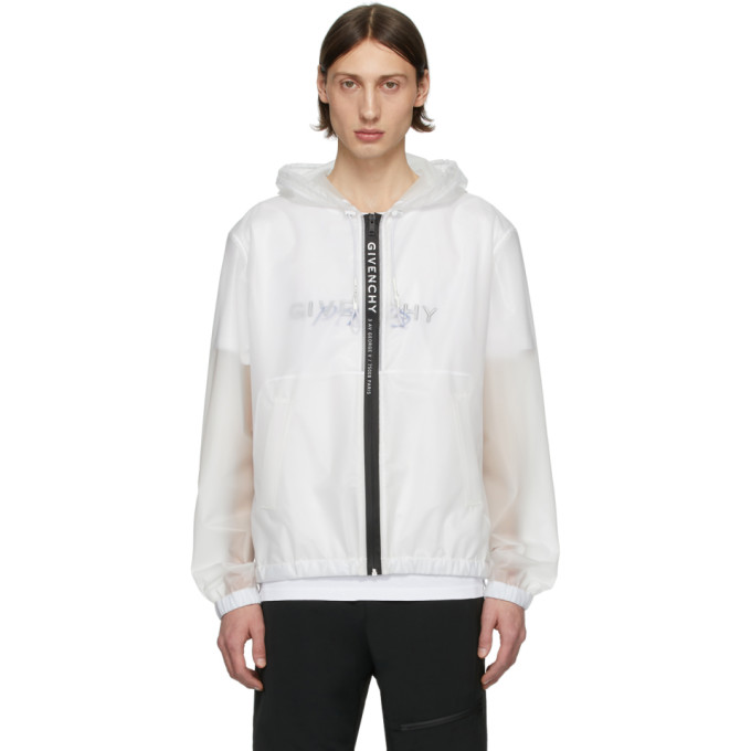 Givenchy White Hooded Windbreaker Jacket In 100-white