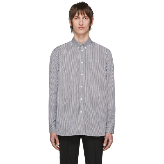 Givenchy Chemise rayee blanche et noire Logo Patch