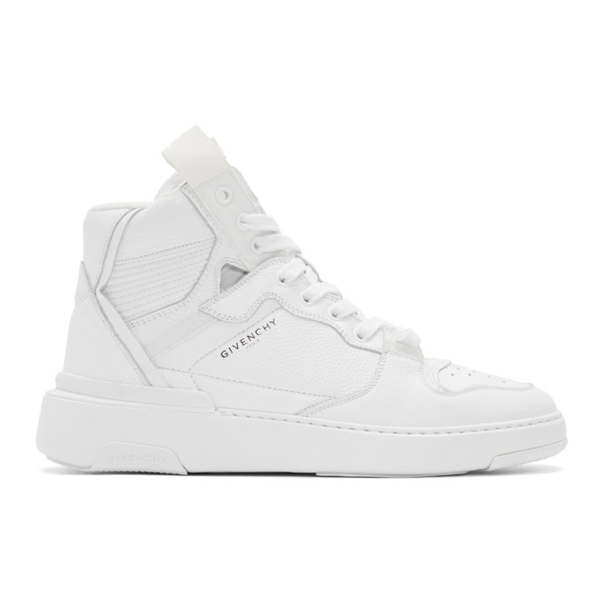 Givenchy Wing Grosgrain-trimmed Full-grain Leather High-top Sneakers In 100 White
