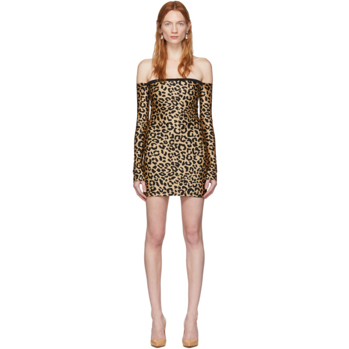 Halpern HALPERN TAN AND BLACK LEOPARD BARE SHOULDER MINI DRESS