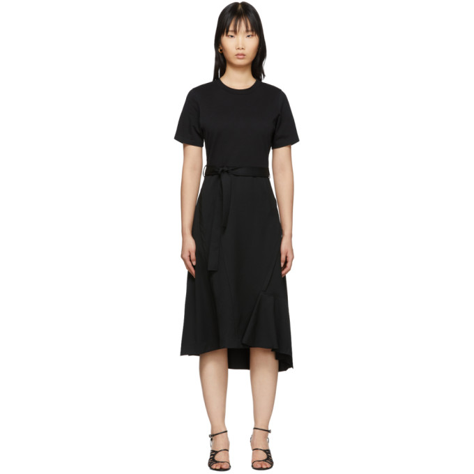31 Phillip Lim Black Wool Combo T Shirt Dress 201283F05409006