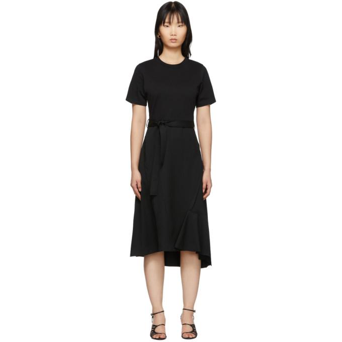 31 Phillip Lim Black Wool Combo T Shirt Dress 201283F05409002