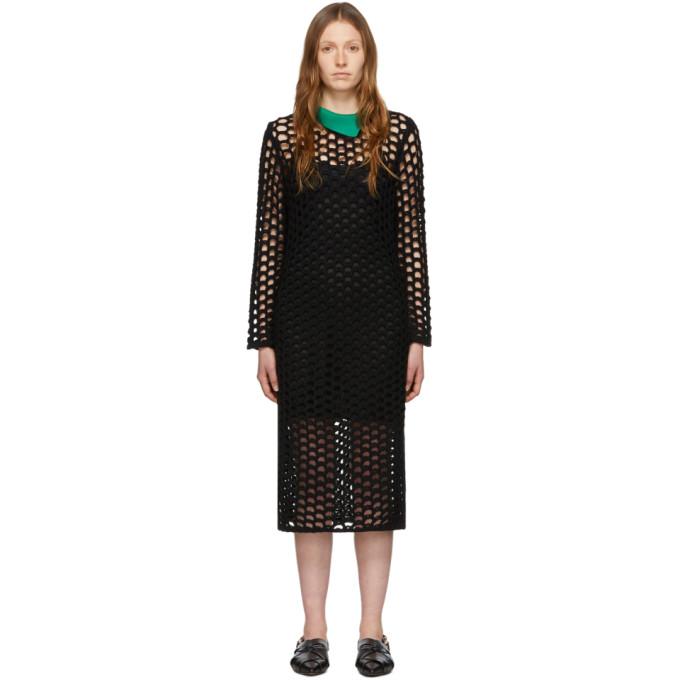 31 Phillip Lim Black Wool Open Knit Polo Maxi Dress 201283F05508403