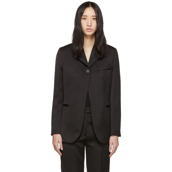 31 Phillip Lim Black Satin Single Button Blazer 201283F05700104