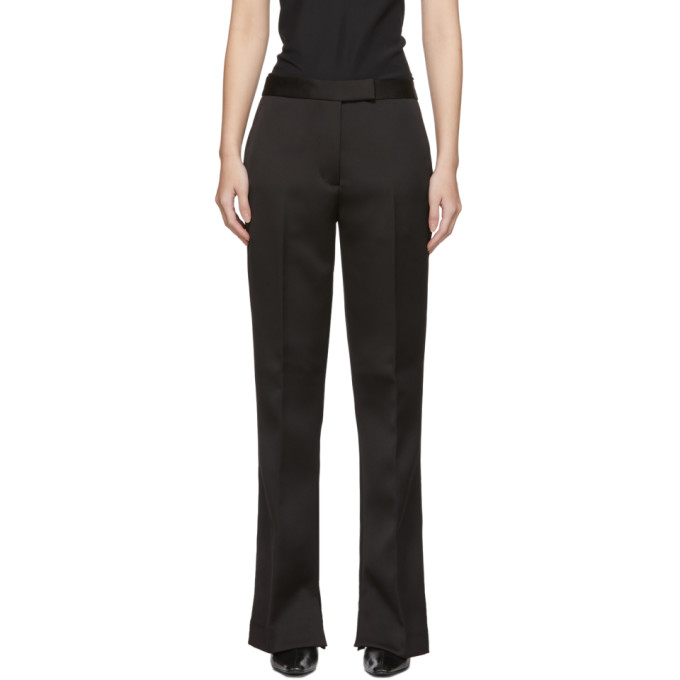31 Phillip Lim Black Satin Structured Trousers 201283F08700102