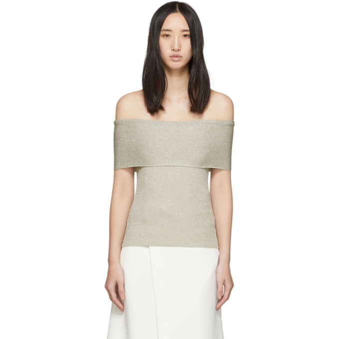 31 Phillip Lim Off White Lurex Off The Shoulder Pullover 201283F09600504