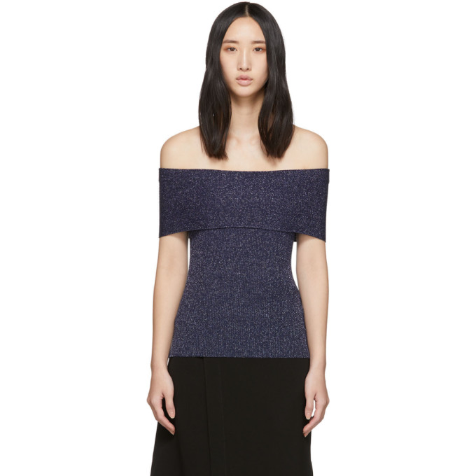 31 Phillip Lim Navy Lurex Off The Shoulder Pullover 201283F09600601