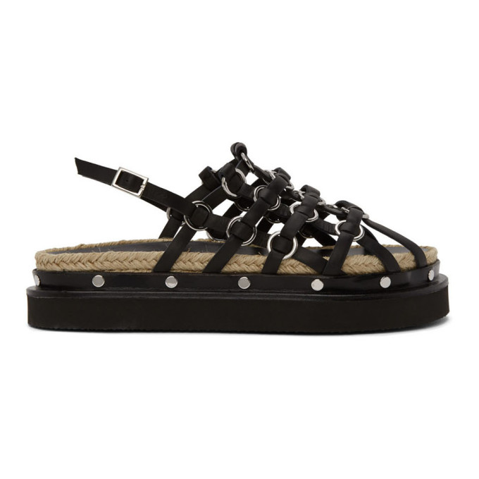 Buy 3.1 Phillip Lim Black Yasmine Cage Espadrille Sandals online