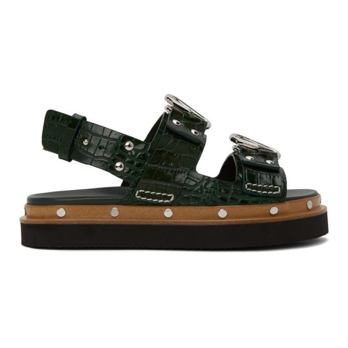 Buy 3.1 Phillip Lim Green Croc Alix Flatform Sandals online
