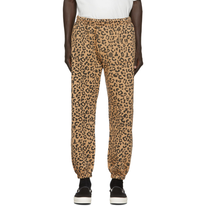Vyner Articles Pantalon de survetement a motif leopard brun clair Chaos