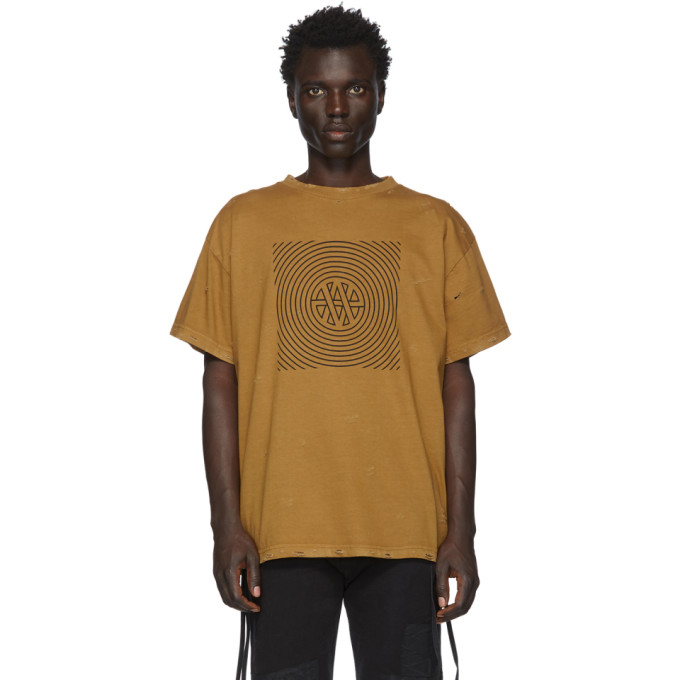 Vyner Articles T-shirt a effet use brun clair Trance Vision
