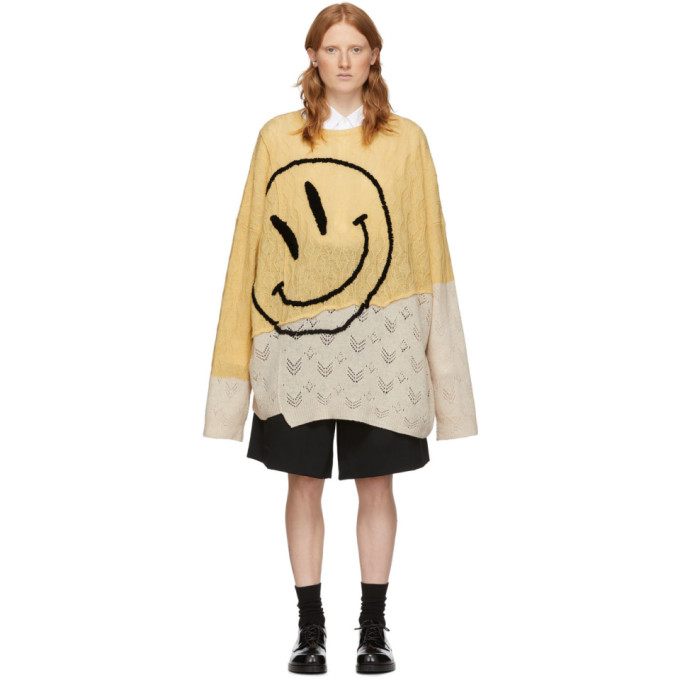 Raf Simons RAF SIMONS YELLOW AND BEIGE OVERSIZED COLLAGE SWEATER