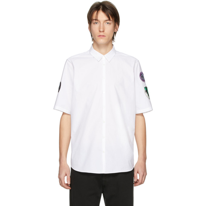 Raf Simons Chemise a manches courtes blanche Patches Slim Fit