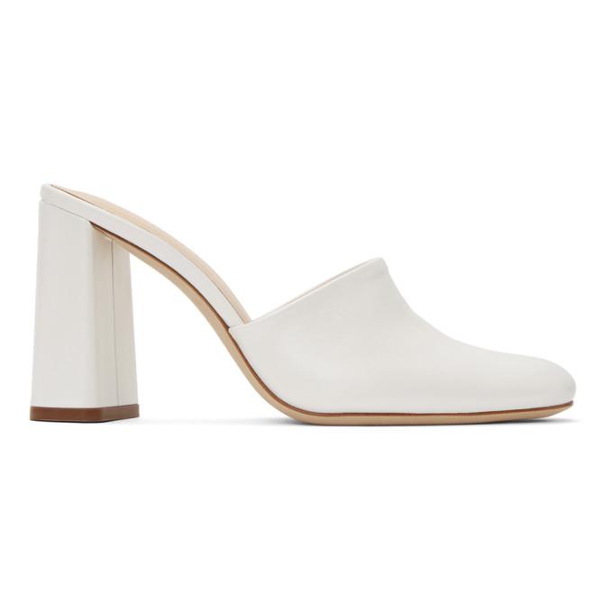 Buy BY FAR White Nina Mules online