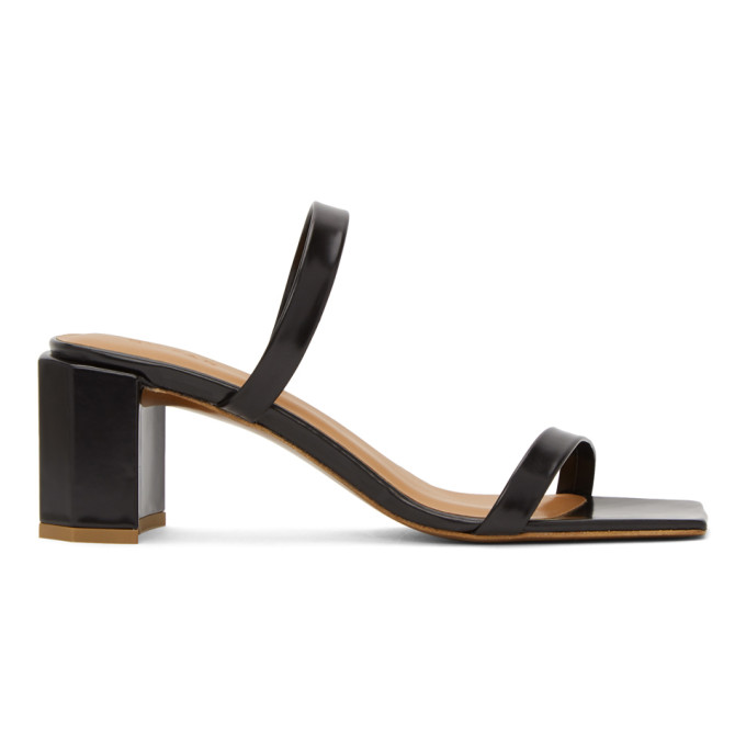 Buy BY FAR Black Leather Tanya Heeled Sandals online