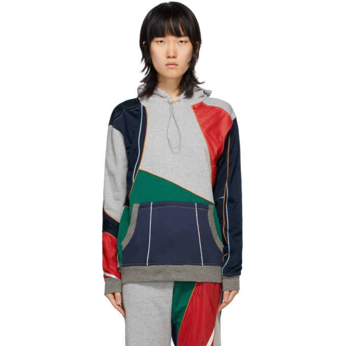 Ahluwalia Grey and Multicolor Patchwork Hoodie