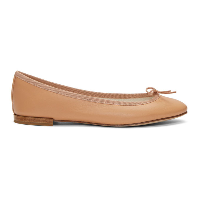 Repetto Tan Leather Cendrillon Ballerina Flats
