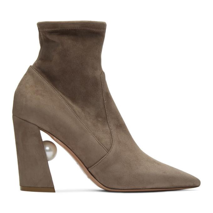 Buy Nicholas Kirkwood Taupe Stretch Miri Boots online