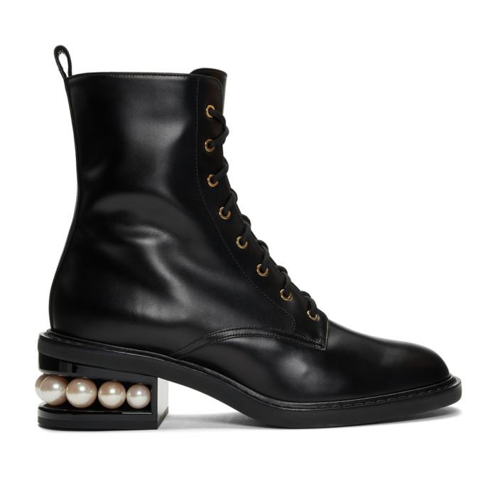 Buy Nicholas Kirkwood Black Casati Pearl 35 Combat Boots online