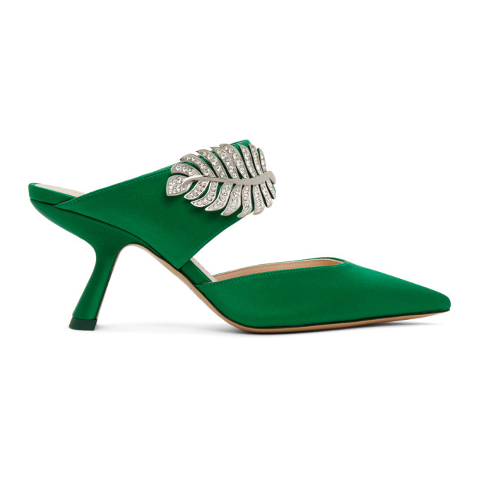 Buy Nicholas Kirkwood Green Satin Monstera Mules online