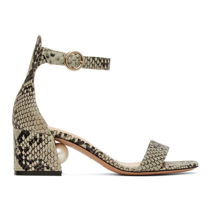 Buy Nicholas Kirkwood Grey and Black Snake Miri 55 Sandals online