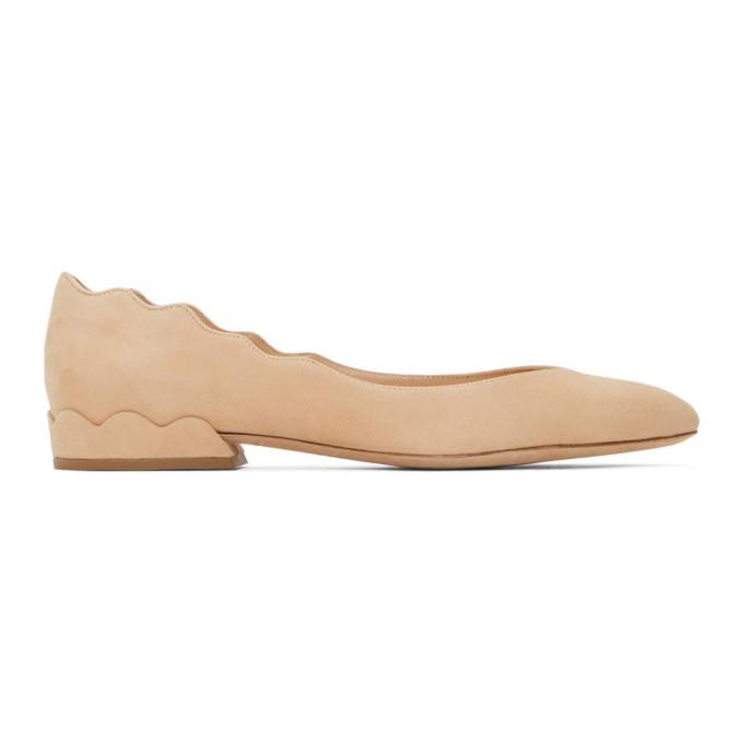 Buy Chloe Tan Suede Lauren Ballerina Heels online