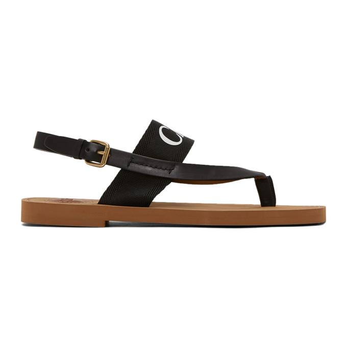 Buy Chloe Black Woody Flat Sandals online