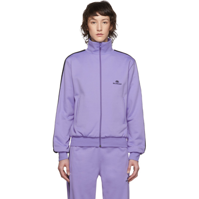 Balenciaga Purple Side Stripe Logo Track Jacket In 5019 Lilac