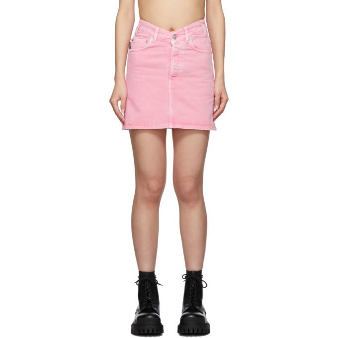 Balenciaga V Waist Cotton Denim Mini Skirt In Pink