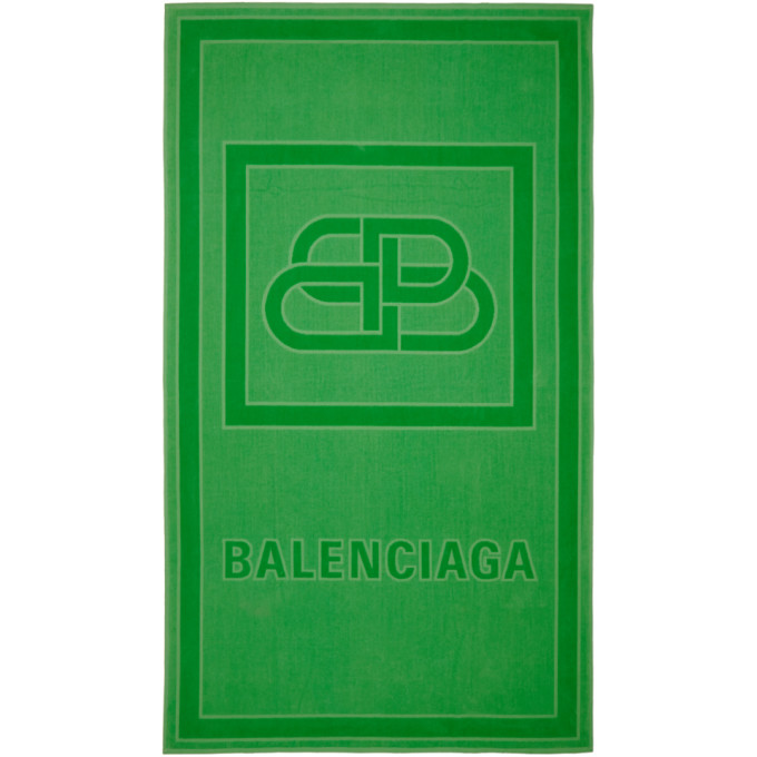 Balenciaga Green Bb Beach Towel In 3700 Green