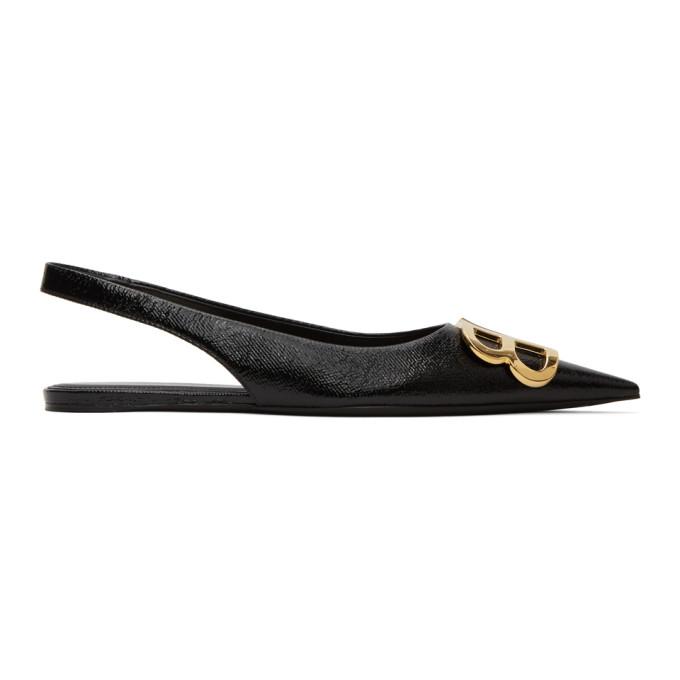 Buy Balenciaga Black Coated BB Slingback Ballerina Flats online