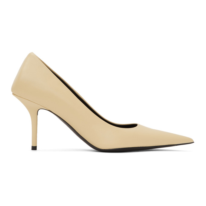 Buy Balenciaga Beige Leather Square Knife Pumps online