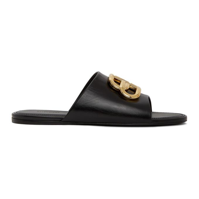 Buy Balenciaga Black Oval BB Flat Sandals online