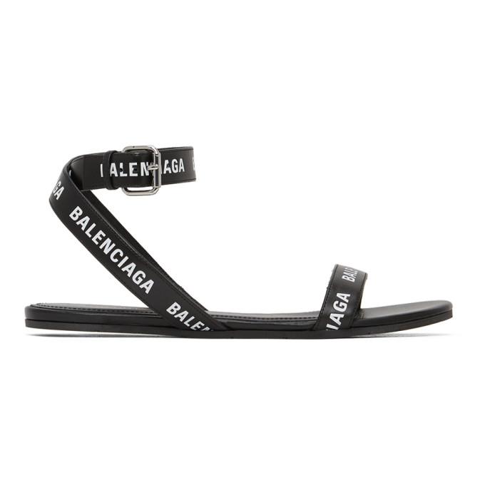Buy Balenciaga Black and White Logo Strap Flat Sandals online