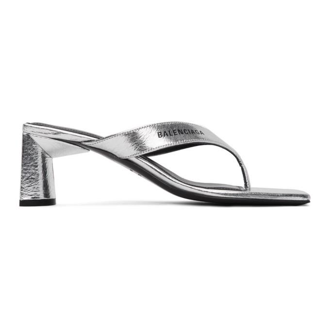 Buy Balenciaga Silver Flip Flop Heels online