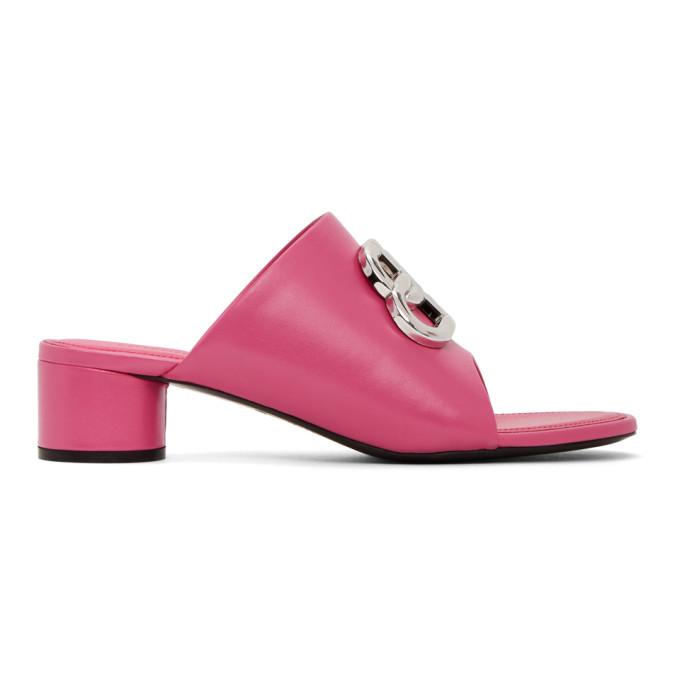 Buy Balenciaga Pink Oval BB Heeled Sandals online