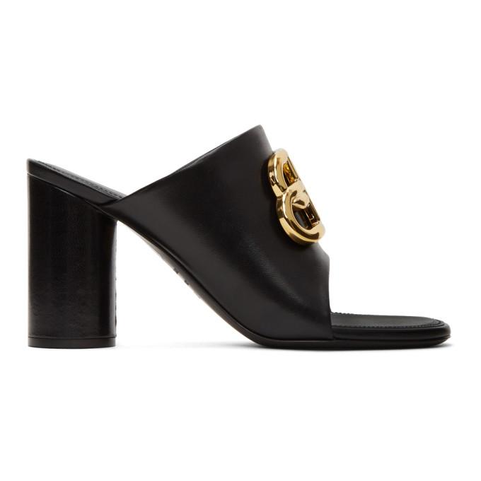 Buy Balenciaga Black Oval BB Heeled Sandals online