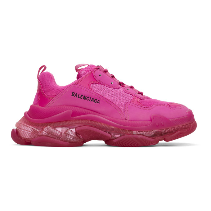 Balenciaga Triple S Clear Sole Logo-embroidered Foam And Mesh Sneakers In 5059 Pink