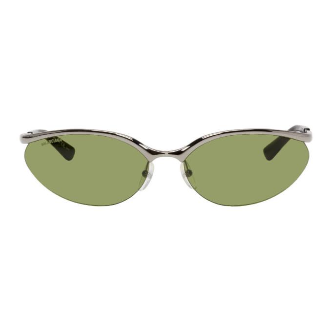Balenciaga Gunmetal Fire Rectangular Sunglasses