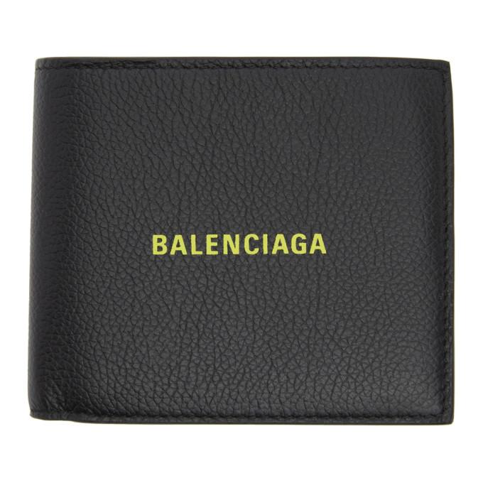 Balenciaga Black and Yellow Square Coin Wallet